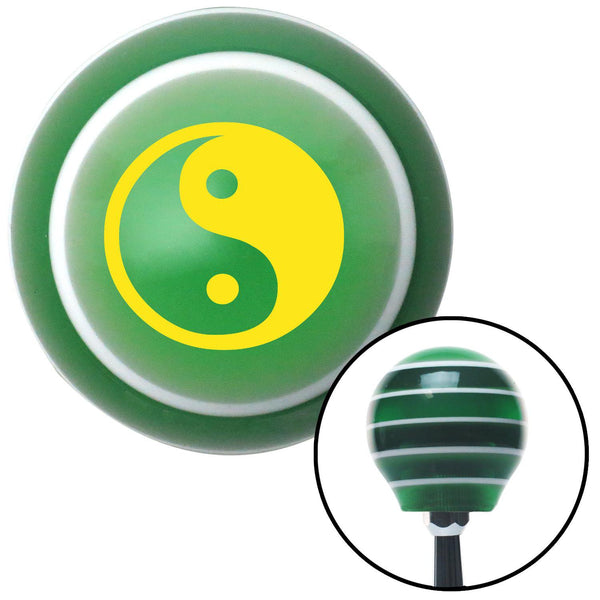 Yellow Yin  Yang Green Stripe Shift Knob with M16 x 15 Insert - American Shifter - Dropship Direct Wholesale