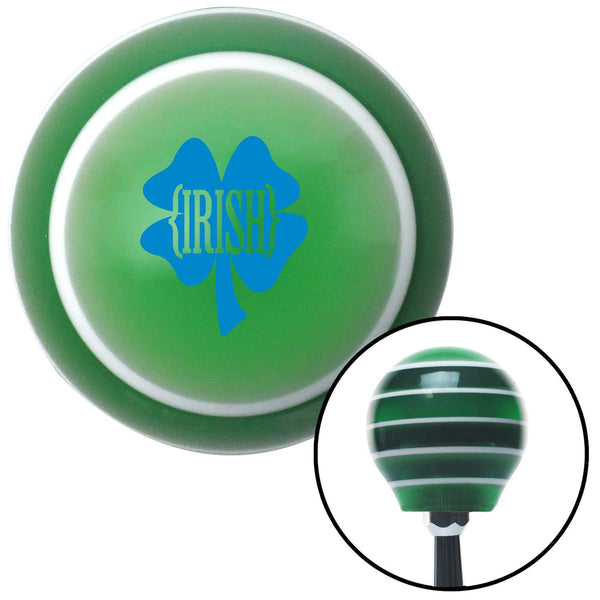 Blue Irish Clover Green Stripe Shift Knob with M16 x 15 Insert - American Shifter - Dropship Direct Wholesale