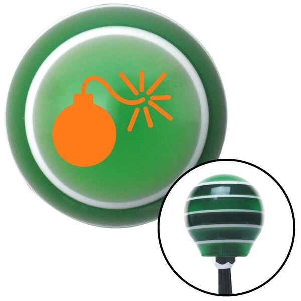 Orange Bomb w Fuse Lit Green Stripe Shift Knob with M16 x 15 Insert - American Shifter - Dropship Direct Wholesale