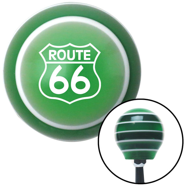 White Route 66 Sign Green Stripe Shift Knob with M16 x 15 Insert - American Shifter - Dropship Direct Wholesale