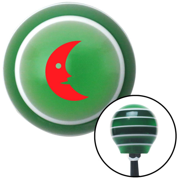 Red Crescent Moon Smiling Green Stripe Shift Knob with M16 x 15 Insert - American Shifter - Dropship Direct Wholesale