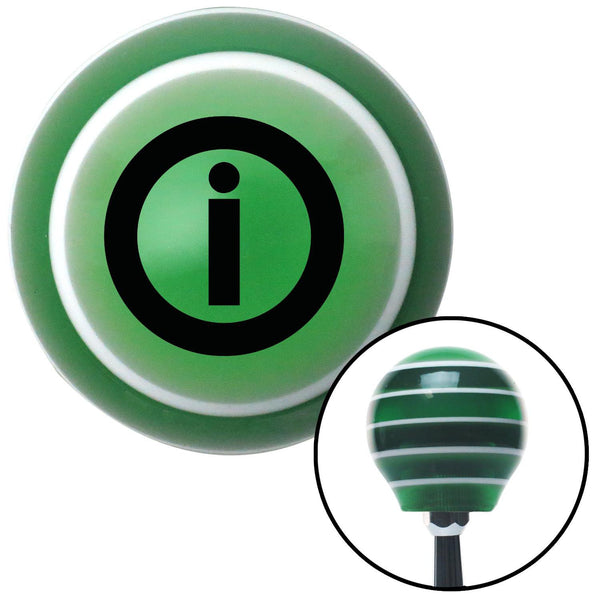 Black Info Green Stripe Shift Knob with M16 x 15 Insert - American Shifter - Dropship Direct Wholesale