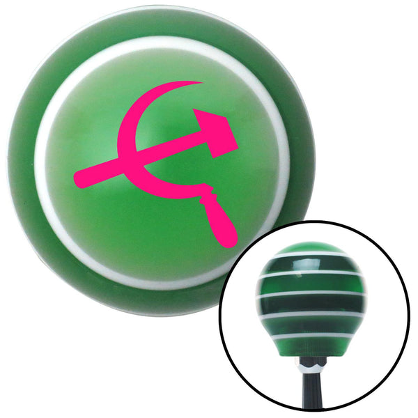 Pink Hammer  Sickle Green Stripe Shift Knob with M16 x 15 Insert - American Shifter - Dropship Direct Wholesale