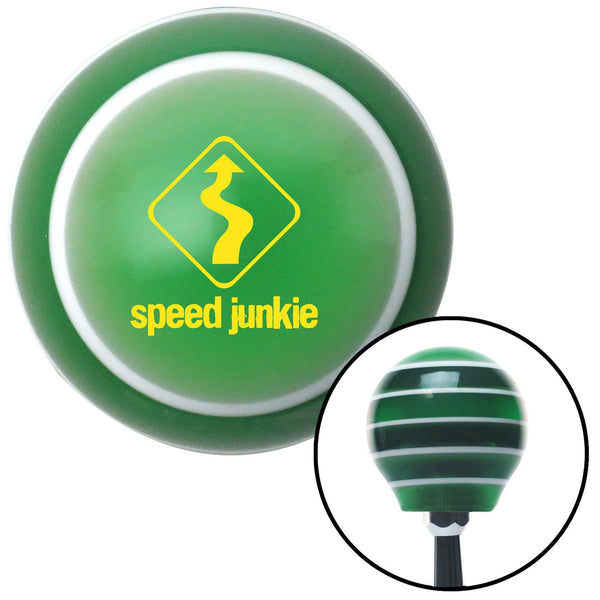 Yellow Speed Junkie Green Stripe Shift Knob with M16 x 15 Insert - American Shifter - Dropship Direct Wholesale