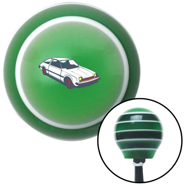 Hatchback White Green Stripe Shift Knob with M16 x 15 Insert - American Shifter - Dropship Direct Wholesale