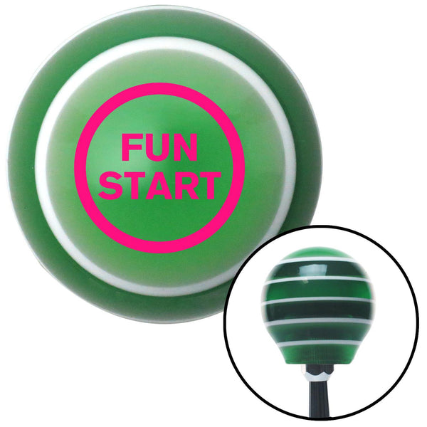 Pink Fun Start Green Stripe Shift Knob with M16 x 15 Insert - American Shifter - Dropship Direct Wholesale