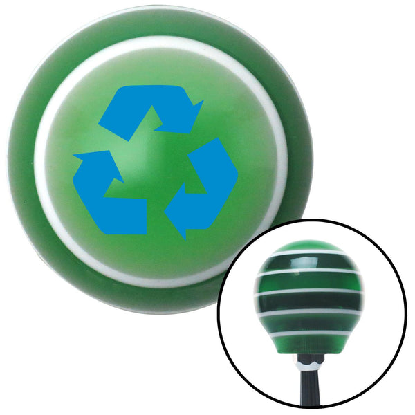Blue Recycle Green Stripe Shift Knob with M16 x 15 Insert - American Shifter - Dropship Direct Wholesale