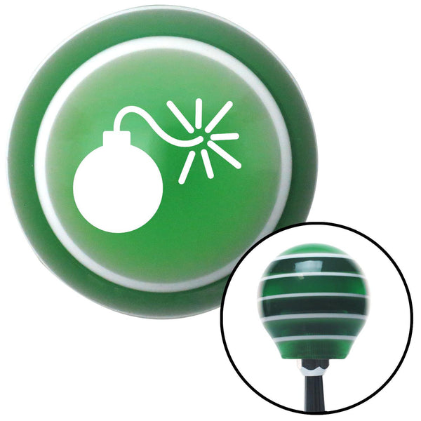 White Bomb w Fuse Lit Green Stripe Shift Knob with M16 x 15 Insert - American Shifter - Dropship Direct Wholesale