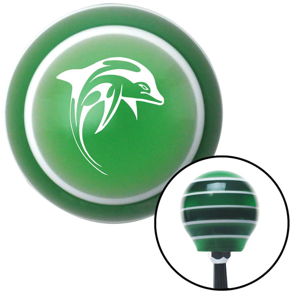 White Dolphin Green Stripe Shift Knob with M16 x 15 Insert - American Shifter - Dropship Direct Wholesale