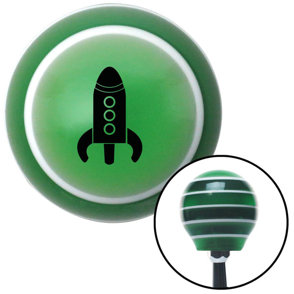 Black Space Ship Green Stripe Shift Knob with M16 x 15 Insert - American Shifter - Dropship Direct Wholesale