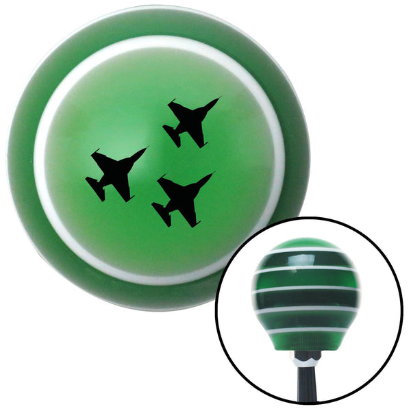 Black Jet Formation Green Stripe Shift Knob with M16 x 15 Insert - American Shifter - Dropship Direct Wholesale