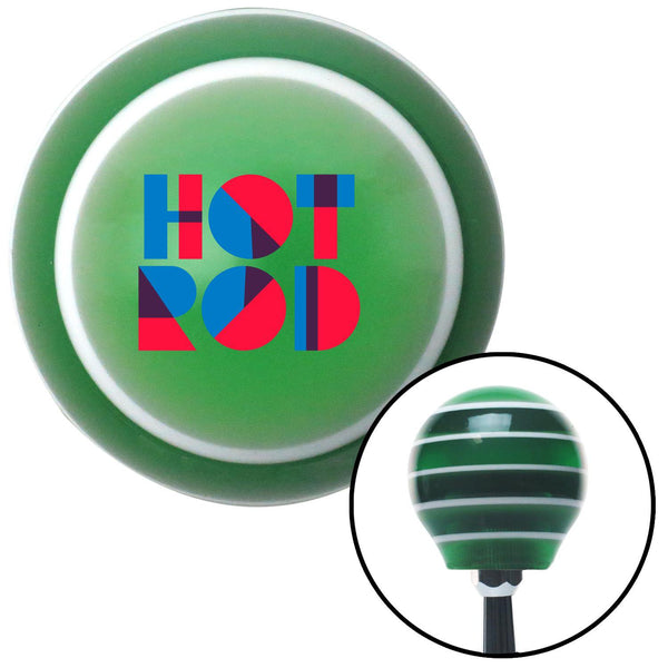 Hot Rod Text Green Stripe Shift Knob with M16 x 15 Insert - American Shifter - Dropship Direct Wholesale