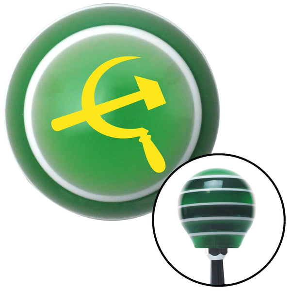 Yellow Hammer  Sickle Green Stripe Shift Knob with M16 x 15 Insert - American Shifter - Dropship Direct Wholesale