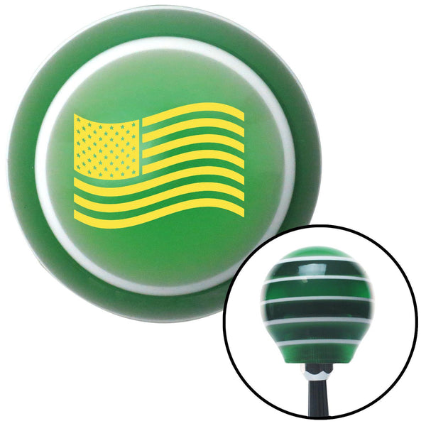 Yellow US Flag Green Stripe Shift Knob with M16 x 15 Insert - American Shifter - Dropship Direct Wholesale