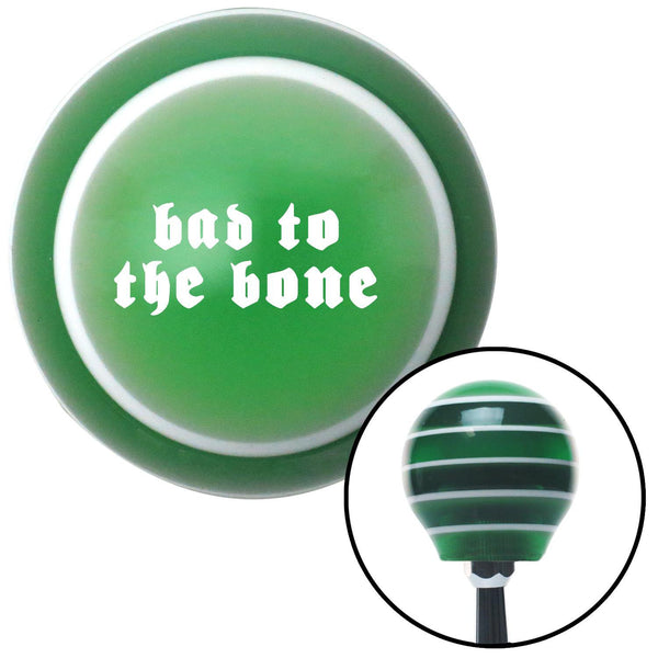 White bad to the bone Green Stripe Shift Knob with M16 x 15 Insert - American Shifter - Dropship Direct Wholesale