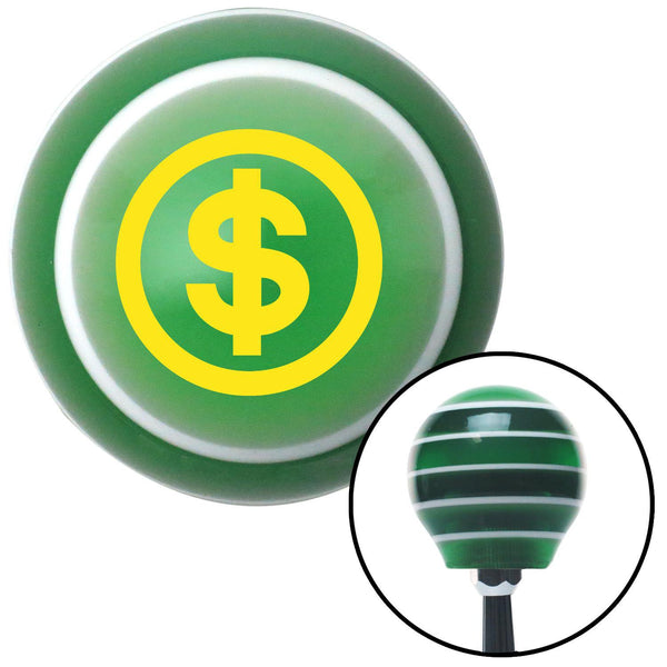 Yellow Money Green Stripe Shift Knob with M16 x 15 Insert - American Shifter - Dropship Direct Wholesale