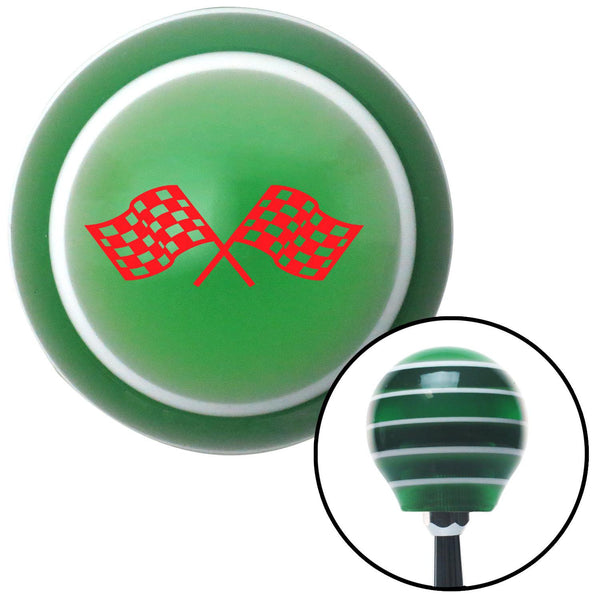 Red Dual Racing Flags Green Stripe Shift Knob with M16 x 15 Insert - American Shifter - Dropship Direct Wholesale