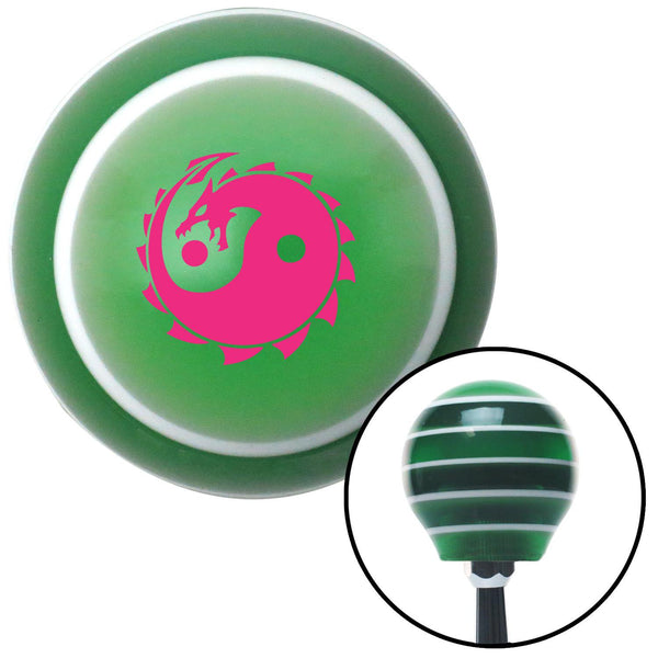 Pink Yin Yang Dragon Green Stripe Shift Knob with M16 x 15 Insert - American Shifter - Dropship Direct Wholesale