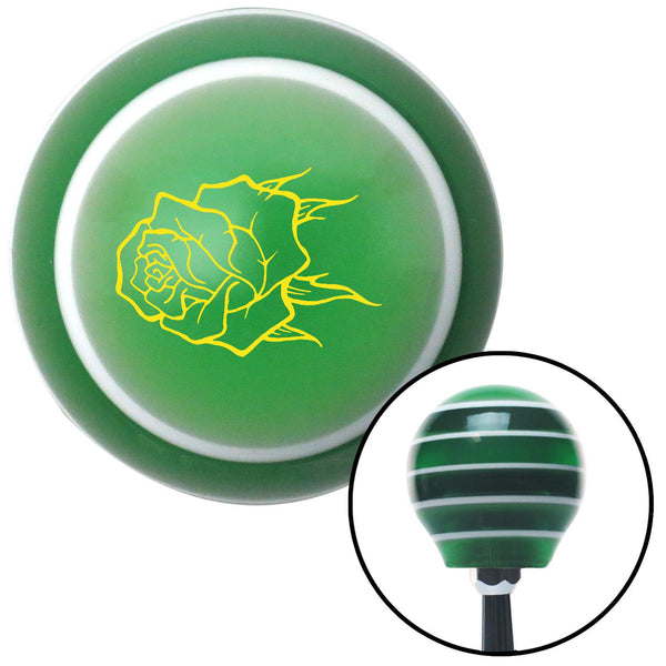 Yellow Rose w no Stem Green Stripe Shift Knob with M16 x 15 Insert - American Shifter - Dropship Direct Wholesale