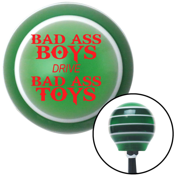 Red Bad Ass Boys Drive Bad Ass Toys Green Stripe Shift Knob with M16 x 15 Insert - American Shifter - Dropship Direct Wholesale