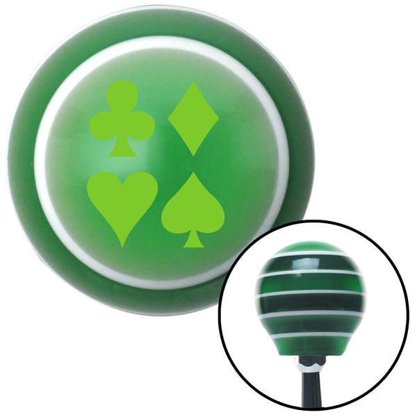 Green Card Symbols Green Stripe Shift Knob with M16 x 15 Insert - American Shifter - Dropship Direct Wholesale