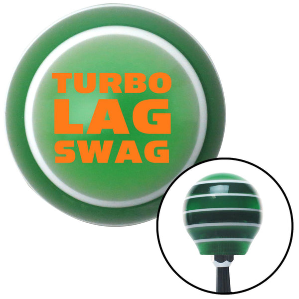 Orange Turbo Lag Swag Green Stripe Shift Knob with M16 x 15 Insert - American Shifter - Dropship Direct Wholesale