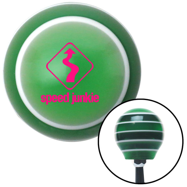 Pink Speed Junkie Green Stripe Shift Knob with M16 x 15 Insert - American Shifter - Dropship Direct Wholesale