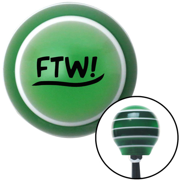 Black FTW Green Stripe Shift Knob with M16 x 15 Insert - American Shifter - Dropship Direct Wholesale