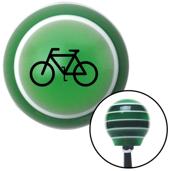 Black Bicycle Green Stripe Shift Knob with M16 x 15 Insert - American Shifter - Dropship Direct Wholesale