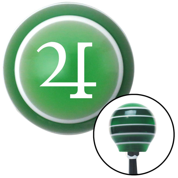 White Jupiter Green Stripe Shift Knob with M16 x 15 Insert - American Shifter - Dropship Direct Wholesale