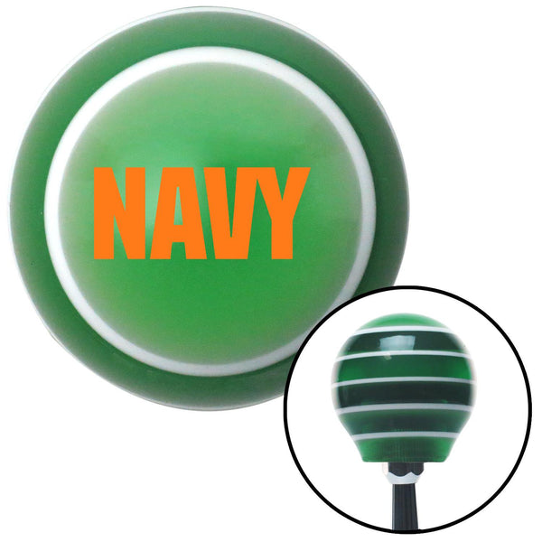 Orange NAVY Logo Green Stripe Shift Knob with M16 x 15 Insert - American Shifter - Dropship Direct Wholesale
