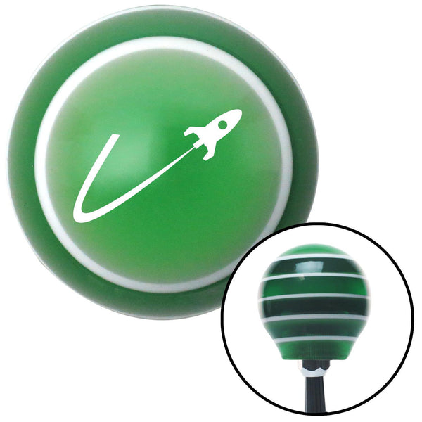 White Space Ship In Flight Green Stripe Shift Knob with M16 x 15 Insert - American Shifter - Dropship Direct Wholesale