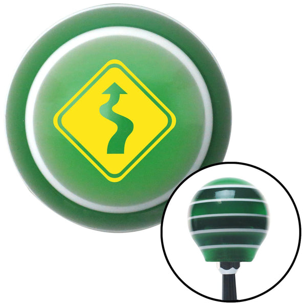 Yellow Curvy Road Green Stripe Shift Knob with M16 x 15 Insert - American Shifter - Dropship Direct Wholesale