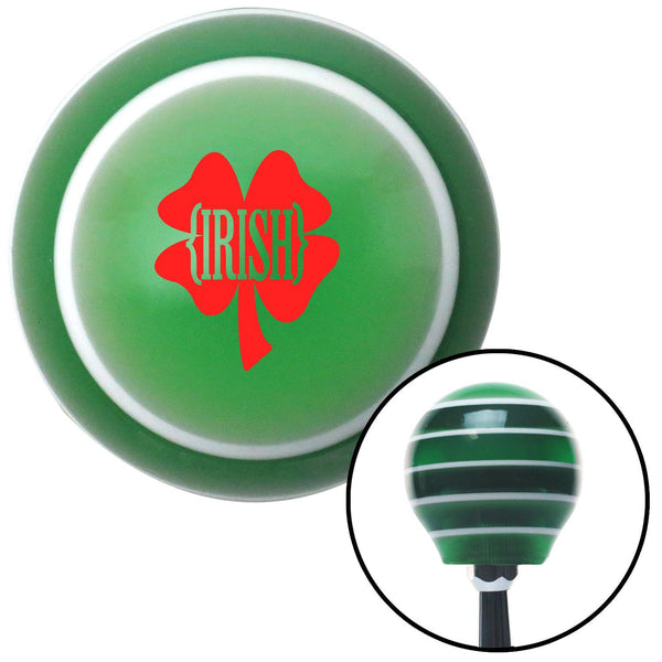 Red Irish Clover Green Stripe Shift Knob with M16 x 15 Insert - American Shifter - Dropship Direct Wholesale