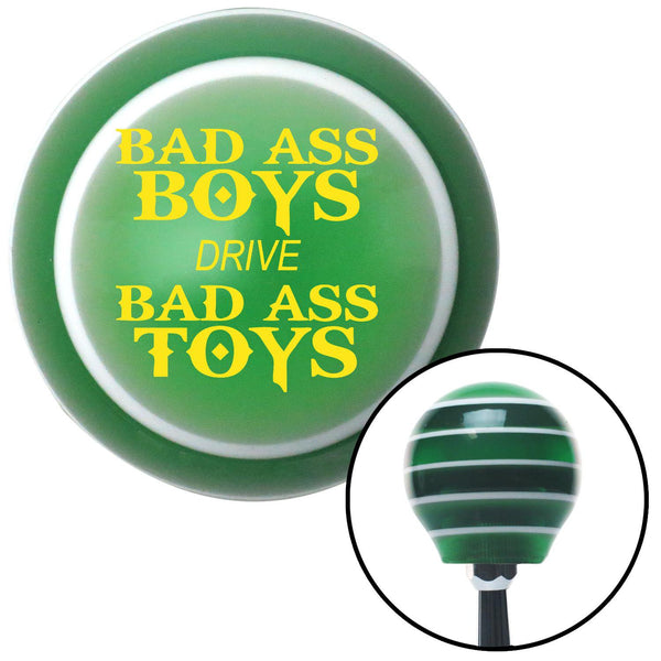 Yellow Bad Ass Boys Drive Bad Ass Toys Green Stripe Shift Knob with M16 x 15 Insert - American Shifter - Dropship Direct Wholesale