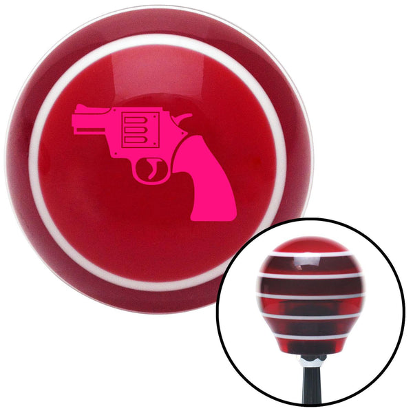 Pink Hand Gun Red Stripe Shift Knob with M16 x 15 Insert - American Shifter - Dropship Direct Wholesale
