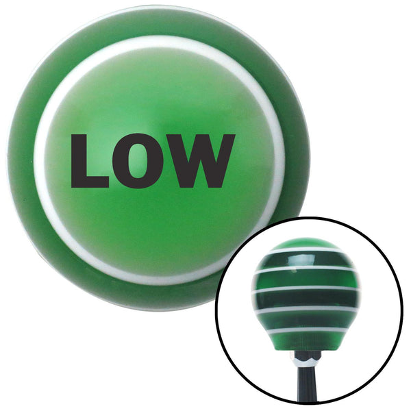 Black LOW Green Stripe Shift Knob with M16 x 15 Insert - American Shifter - Dropship Direct Wholesale
