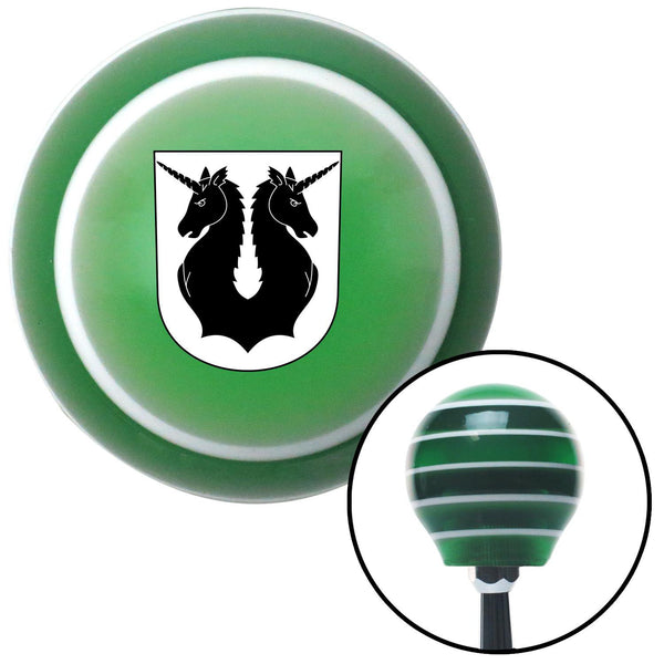 Unicorns Coat of Arms Green Stripe Shift Knob with M16 x 15 Insert - American Shifter - Dropship Direct Wholesale
