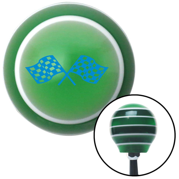 Blue Dual Racing Flags Green Stripe Shift Knob with M16 x 15 Insert - American Shifter - Dropship Direct Wholesale