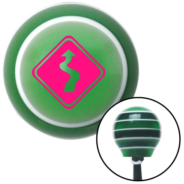 Pink Curvy Road Green Stripe Shift Knob with M16 x 15 Insert - American Shifter - Dropship Direct Wholesale