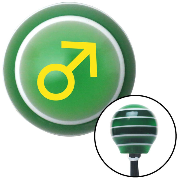 Yellow Male Green Stripe Shift Knob with M16 x 15 Insert - American Shifter - Dropship Direct Wholesale