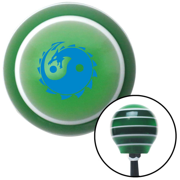 Blue Yin Yang Dragon Green Stripe Shift Knob with M16 x 15 Insert - American Shifter - Dropship Direct Wholesale