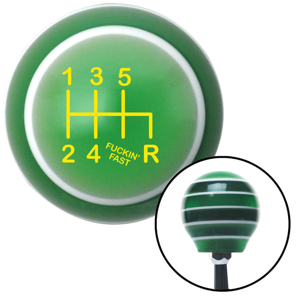 Yellow Shift Pattern Fcking Fast Style 41n Green Stripe Shift Knob with M16 x 15 Insert - American Shifter - Dropship Direct Wholesale