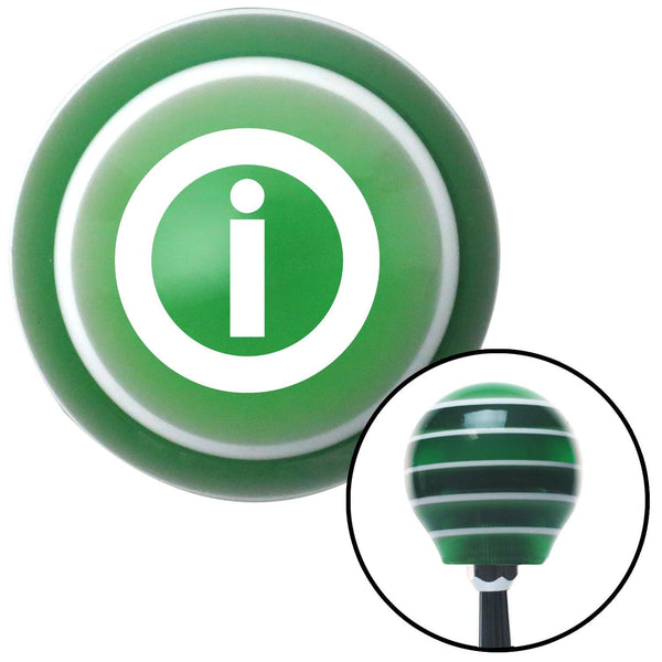 White Info Green Stripe Shift Knob with M16 x 15 Insert - American Shifter - Dropship Direct Wholesale