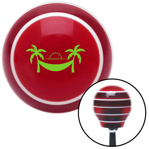 Green Hammock Scene Red Stripe Shift Knob with M16 x 15 Insert - American Shifter - Dropship Direct Wholesale