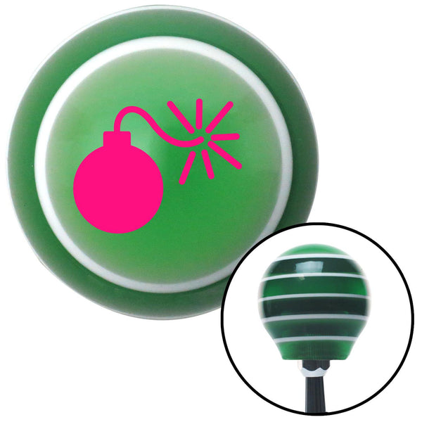 Pink Bomb w Fuse Lit Green Stripe Shift Knob with M16 x 15 Insert - American Shifter - Dropship Direct Wholesale