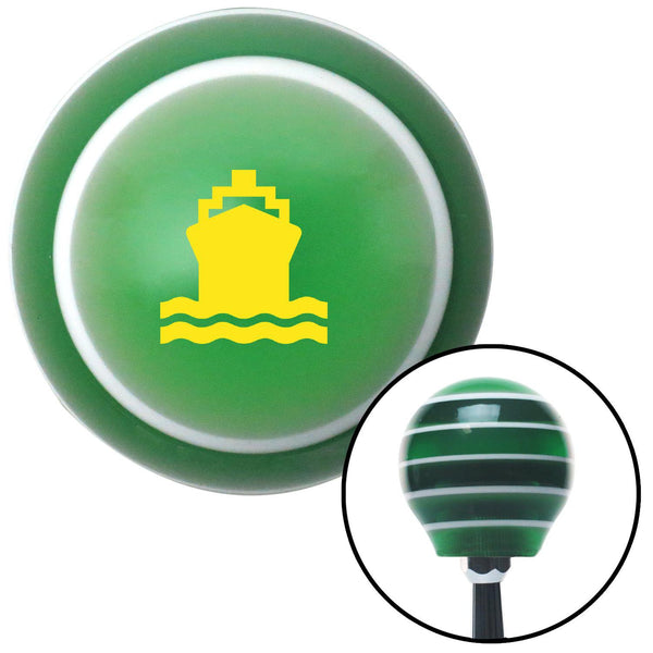 Yellow Cruise Ship Green Stripe Shift Knob with M16 x 15 Insert - American Shifter - Dropship Direct Wholesale
