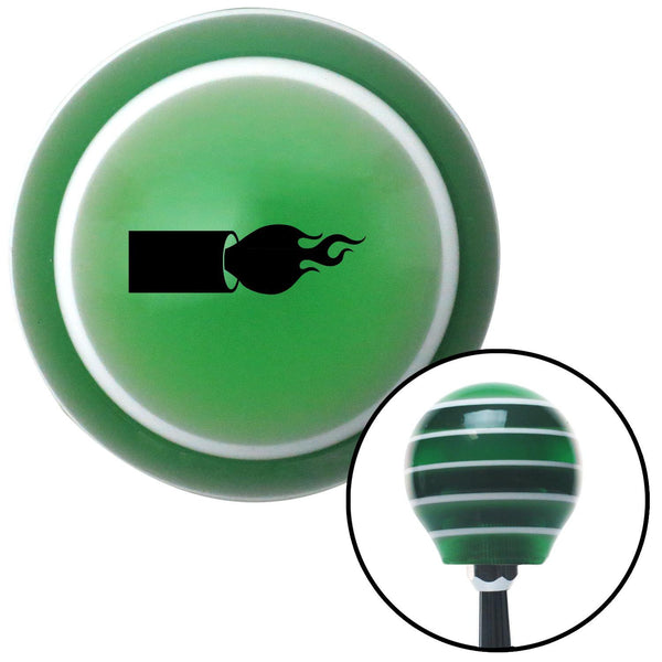 Black Flamethrower Green Stripe Shift Knob with M16 x 15 Insert - American Shifter - Dropship Direct Wholesale