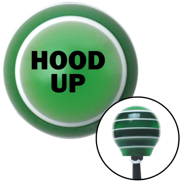 Black HOOD UP Green Stripe Shift Knob with M16 x 15 Insert - American Shifter - Dropship Direct Wholesale