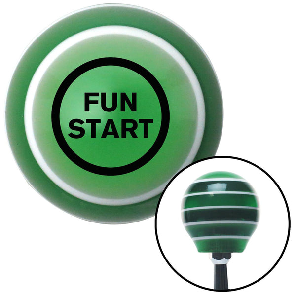 Black Fun Start Green Stripe Shift Knob with M16 x 15 Insert - American Shifter - Dropship Direct Wholesale